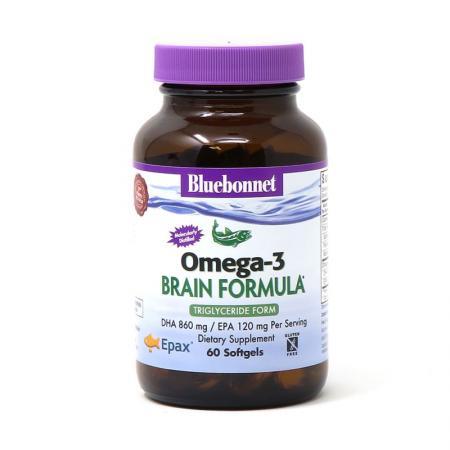 Bluebonnet Nutrition Natural Omega-3 Brain Formula, 60 капсул