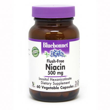 Bluebonnet Nutrition Niacin Flush-Free 500 mg, 60 капсул