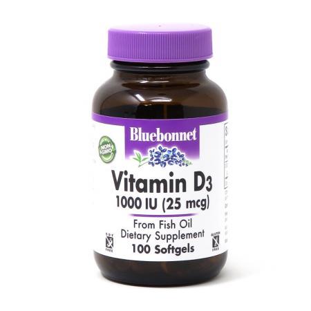 Bluebonnet Vitamin D3 1000IU, 90 вегакапсул