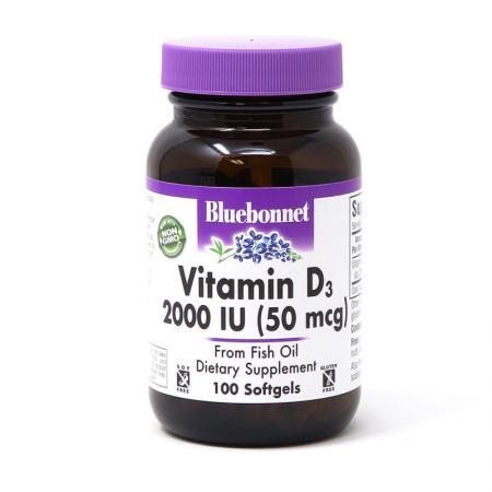 Bluebonnet Vitamin D3 2000IU, 100 капсул