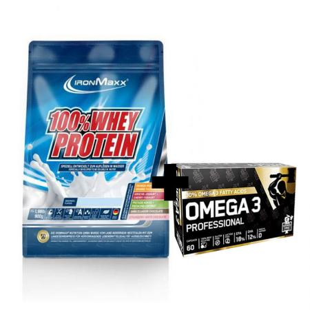 IronMaxx 100% Whey Protein 900 грамм + German Forge Omega 3 60 капсул, SALE