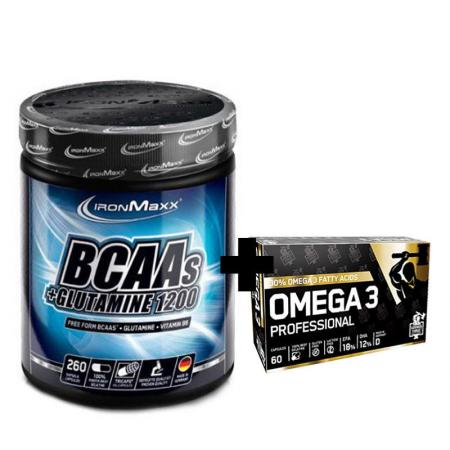 IronMaxx BCAA + Glutamine 1200 260 капсул + German Forge Omega 3 Professional 60 капсул, SALE