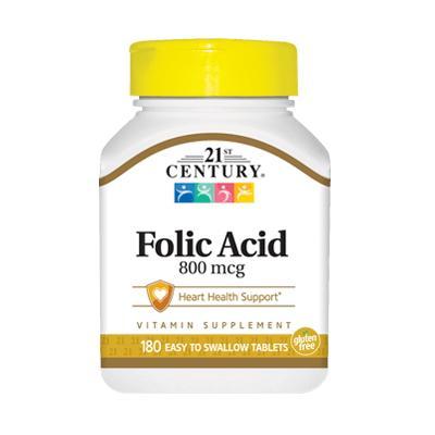21st Century Folic Acid 800 mcg, 180 таблеток