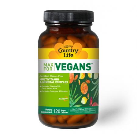 Country Life Max for Vegans, 120 вегакапсул