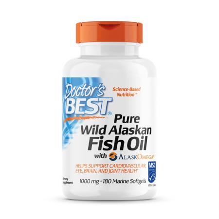 Doctor's Best Pure Wild Alaskan Fish Oil with Alask Omega, 180 капсул