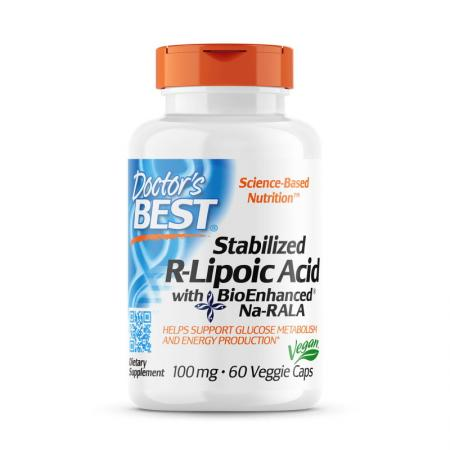 Doctor's Best Stabilized R-Lipoic Acid 100 mg, 60 вегакапсул