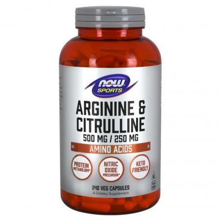 NOW Arginine and Citrulline, 240 вегакапсул