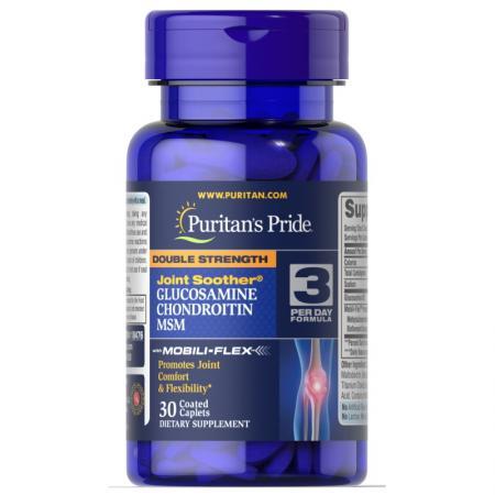 Puritans Pride Double Strength Chondroitin Glucosamine MSM, 30 каплет