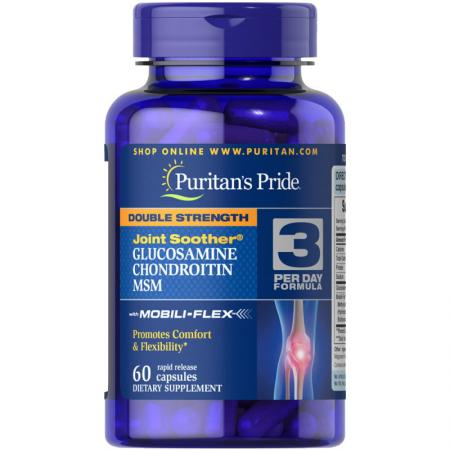 Puritans Pride Double Strength Chondroitin Glucosamine MSM, 60 капсул