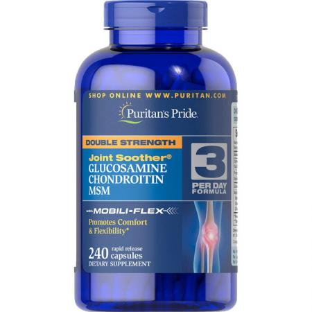 Puritans Pride Double Strength Chondroitin Glucosamine MSM, 240 капсул