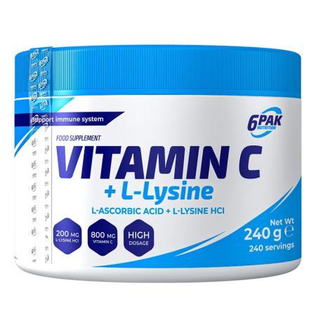6PAK Nutrition Vitamin C + L-Lysine, 240 грамм