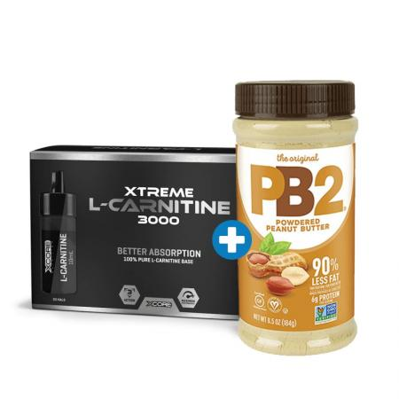 Prozis Xtreme L-Carnitine 3000 ampules 20х10 мл +PB2 Powdered Peanut Butter, 184 грамм, SALE