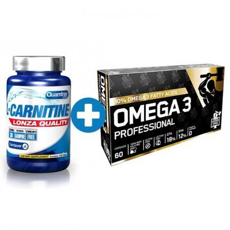 Quamtrax L-Carnitine Lonza Quality, 120 капсул + German Forge Omega 3 Professional, 60 капсул