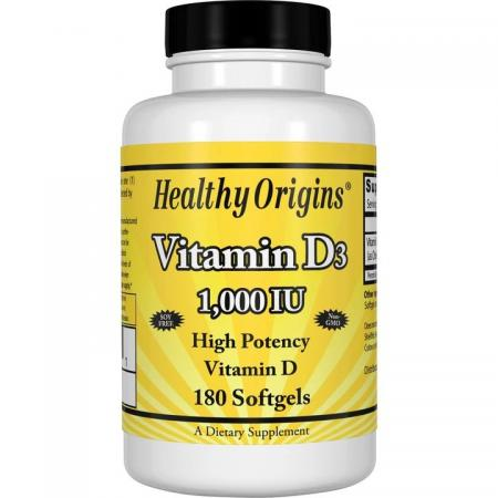 Healthy Origins Vitamin D3 1000 IU, 180 капсул