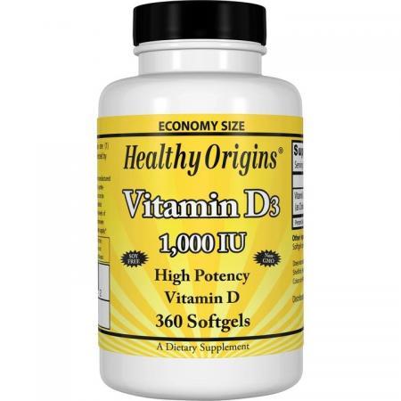 Healthy Origins Vitamin D3 1000 IU, 360 капсул