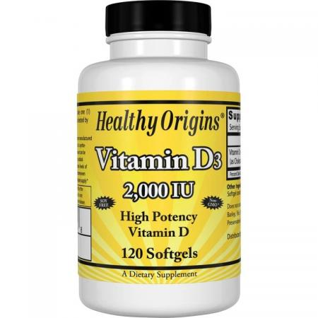 Healthy Origins Vitamin D3 2000 IU, 120 капсул