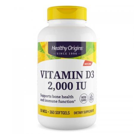 Healthy Origins Vitamin D3 2000 IU, 360 капсул new