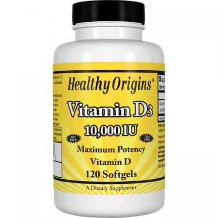 Healthy Origins Vitamin D3 10000 IU, 120 капсул