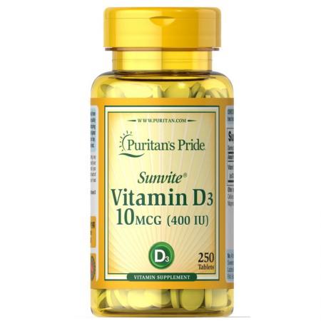 Puritan's Pride Vitamin D3 400 IU, 250 таблеток