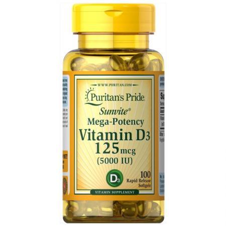 Puritan's Pride Vitamin D3 5000 IU, 100 капсул