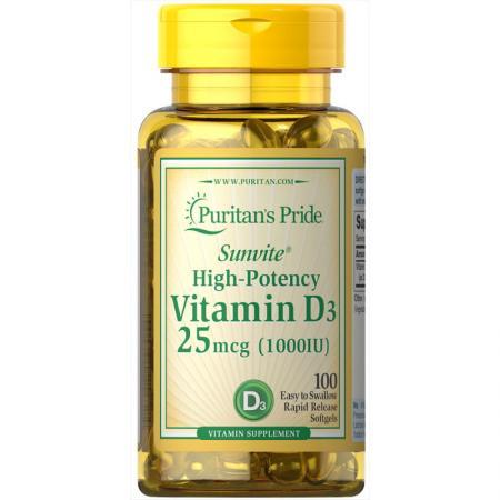 Puritan's Pride Vitamin D3 1000 IU, 100 капсул