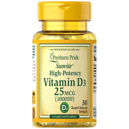 Puritan's Pride Vitamin D3 1000 IU, 30 капсул