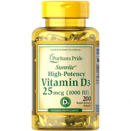 Puritan's Pride Vitamin D3 1000 IU, 200 капсул