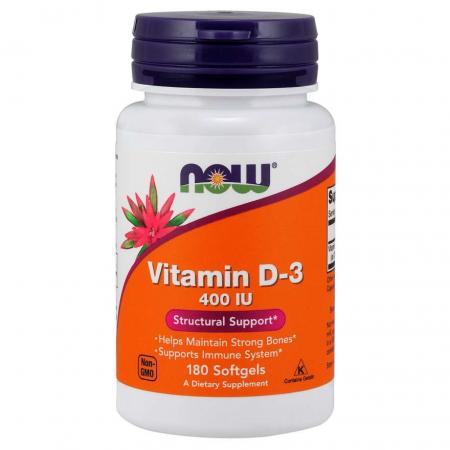 NOW Vitamin D3 400 IU, 180 капсул