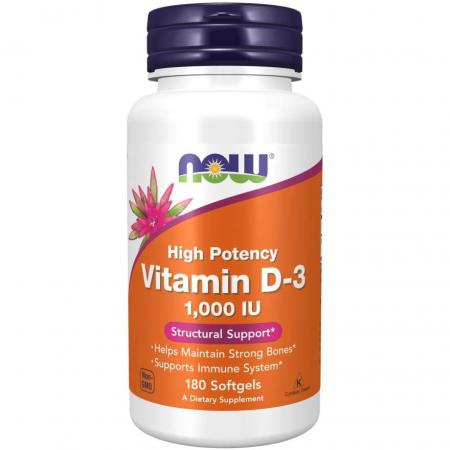 NOW Vitamin D3 1000 IU, 180 капсул