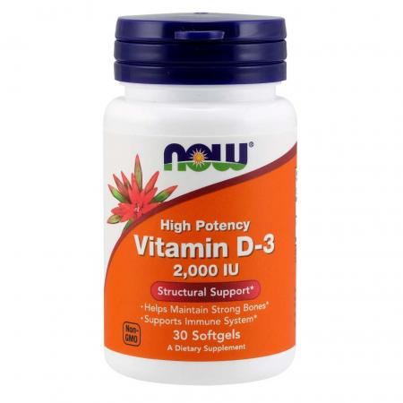 NOW Vitamin D3 2000 IU, 30 капсул