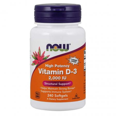 NOW Vitamin D3 2000 IU, 240 капсул
