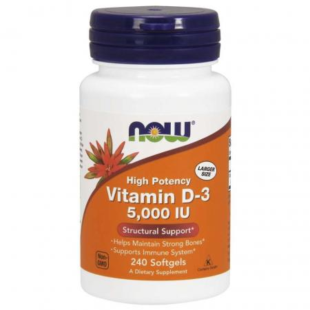 NOW Vitamin D3 5000 IU, 240 капсул
