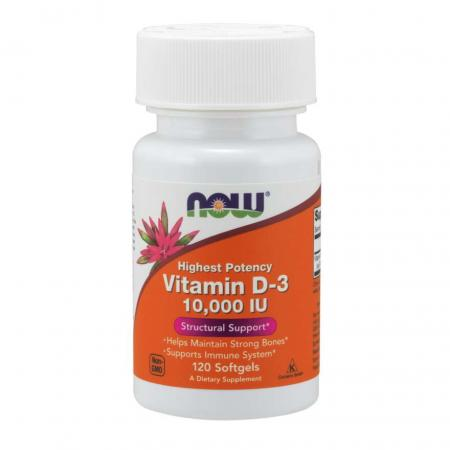 NOW Vitamin D3 10 000 IU, 120 капсул
