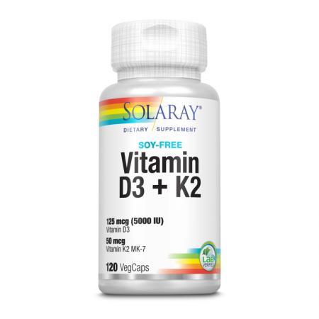 Solaray Vitamin D3 + K2 Soy Free, 120 вегакапсул