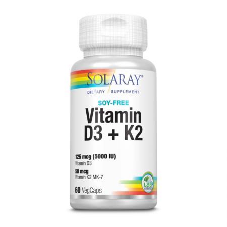 Solaray Vitamin D3 + K2 Soy Free, 60 вегакапсул