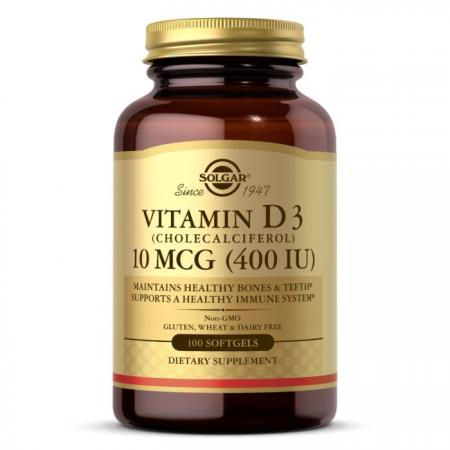 Solgar Vitamin D3 10 mcg, 100 капсул
