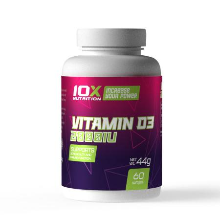 10XNutrition Vitamin D3 2000 IU, 60 капсул