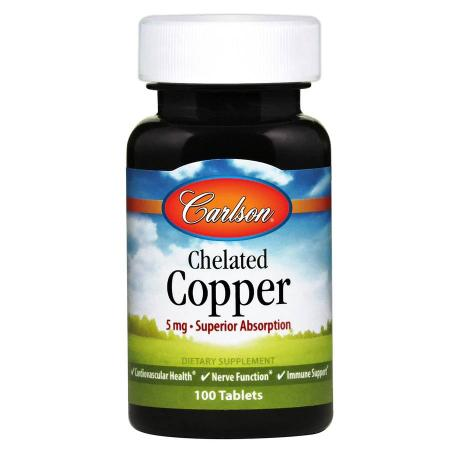Carlson Labs Chelated Copper, 100 таблеток