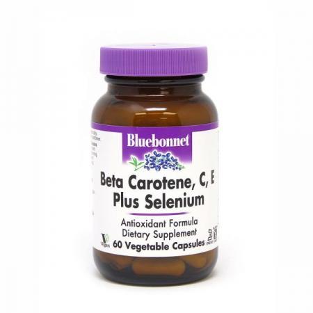 Bluebonnet Beta Carotene, C, E Plus Selenium, 60 вегакапсул