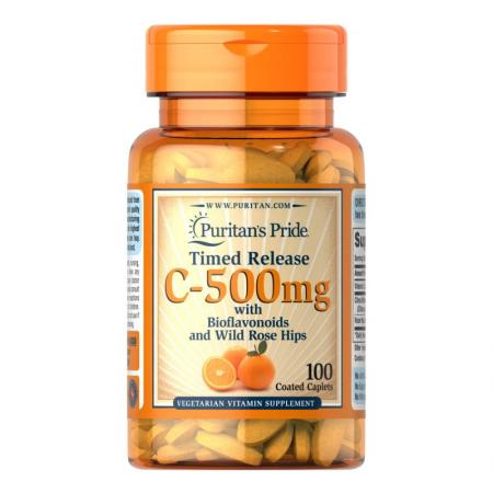 Puritan's Pride Vitamin C-500 mg with Rose Hips Time Release, 100 каплет