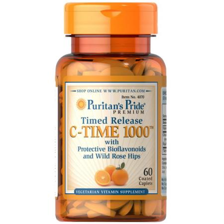 Puritan's Pride Timed Release C-Time 1000 mg, 60 каплет
