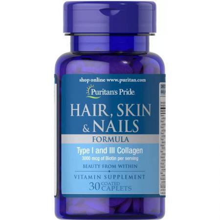 Puritan's Pride Hair Skin and Nails Formula, 30 каплеты