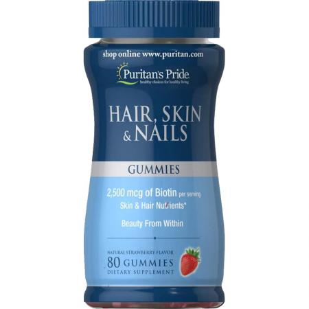 Puritan's Pride Hair Skin & Nails Gummies, 80 желеек - клубника