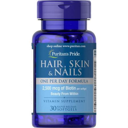 Puritan's Pride Hair Skin and Nails One Per Day Formula, 30 капсул