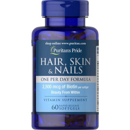 Puritan's Pride Hair Skin and Nails One Per Day Formula, 60 капсул