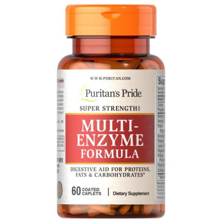 Puritan's Pride Super Strength Multi Enzyme, 60 каплет