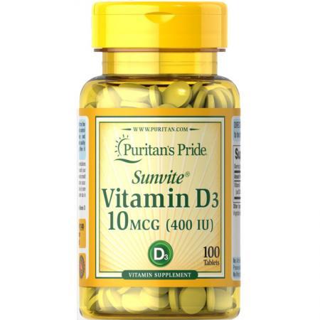 Puritan's Pride Vitamin D3 400 IU, 100 таблеток