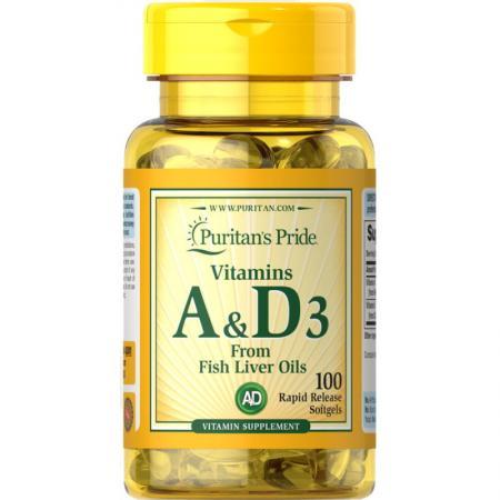 Puritan's Pride Vitamins A & D, 100 капсул