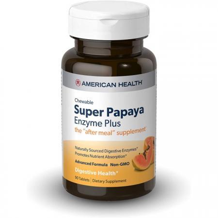 AmericaAmerican Health Super Papaya Enzyme Plus, 90 таблетокn Health Original Papaya Enzyme, 600 жевательных таблеток