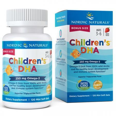 Nordic Naturals Children's DHA 250 mg, 120 капсул - клубника